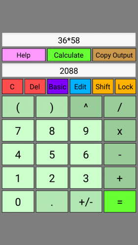 Screenshot of WyeSoft Lua Calc v1.0.0's basic keypad (portrait)