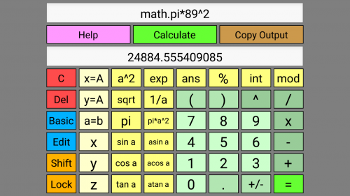 Screenshot of WyeSoft Lua Calc v1.0.0's scientific keypad (landscape)