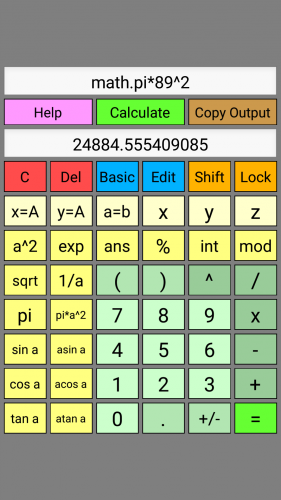 Screenshot of WyeSoft Lua Calc v1.0.0's scientific keypad (portrait)